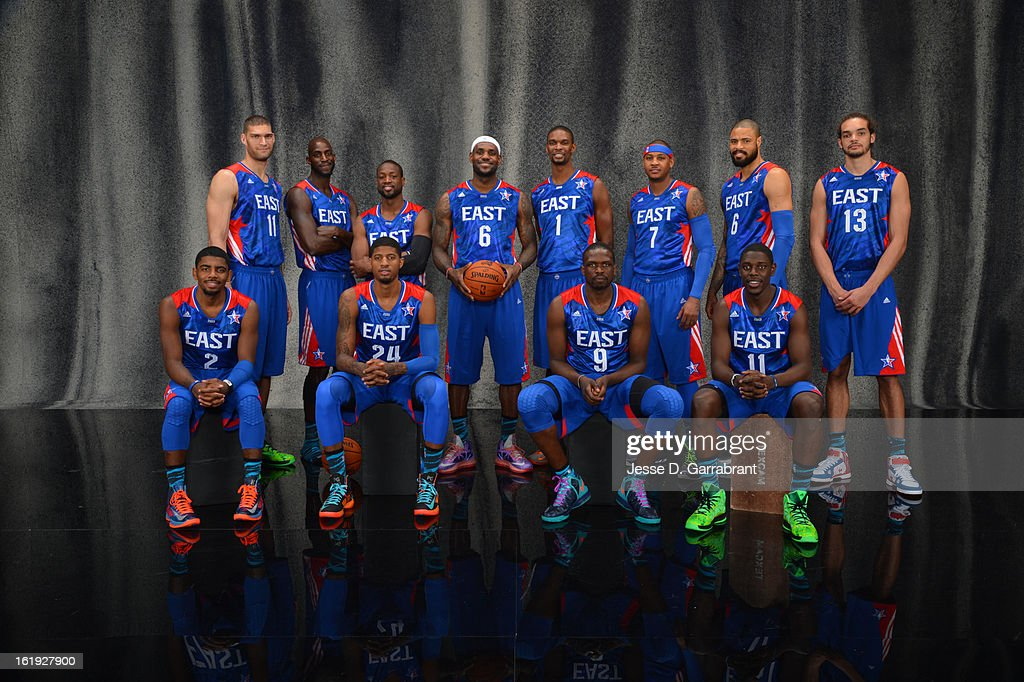 Brook Lopez #11, Kevin Garnett #5, Dwyane Wade #3, LeBron James #6, Carmelo Anthony #7, Tyson Chandler #6, Joakim Noah #13, (Front row) Kyrie Irving #2, Paul George #24, Luol Deng #9, Jrue Holiday #11 of the Eastern Conference All-Stars poses for portraits prior to the 2013 NBA All-Star Game at Toyota Center on February 17, 2013 in Houston, Texas.