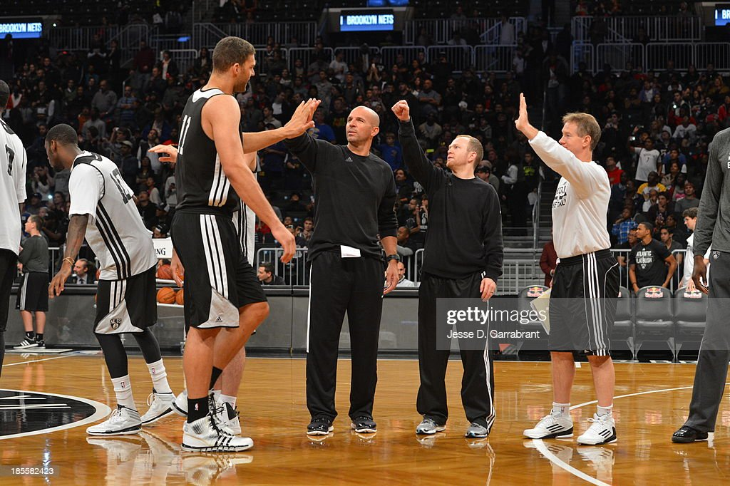 Brook Lopez Lawrence Frank and Jason Kidd of the Brooklyn Nets practice at The Barclays Center on October 20 2013 in Brooklyn New York NOTE TO USER...