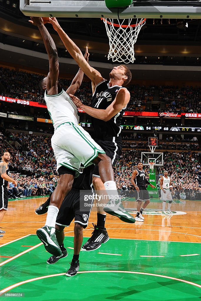 <a gi-track='captionPersonalityLinkClicked' href=/galleries/search?phrase=Brook+Lopez&family=editorial&specificpeople=3847328 ng-click='$event.stopPropagation()'>Brook Lopez</a> #11 of the Brooklyn Nets blocks a shot against Jeff Green #8 of the Boston Celtics on April 10, 2013 at the TD Garden in Boston, Massachusetts.