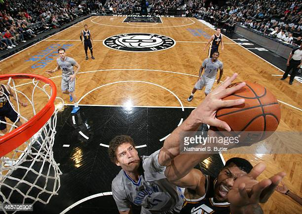 Brook Lopez of the Brooklyn Nets blocks a shot against the Utah Jazz on March 8 2015 at Barclays Center in Brooklyn New York NOTE TO USER User...
