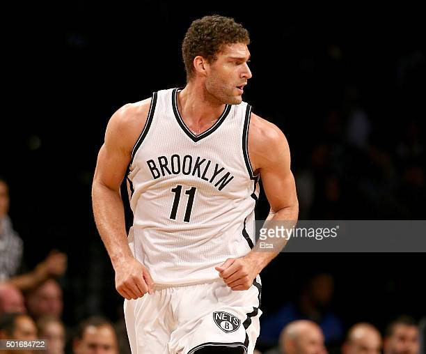 Brook Lopez of the Brooklyn Nets celebrates his shot in the first half against the Miami Heat at Barclays Center on December 16 2015 in the Brooklyn...