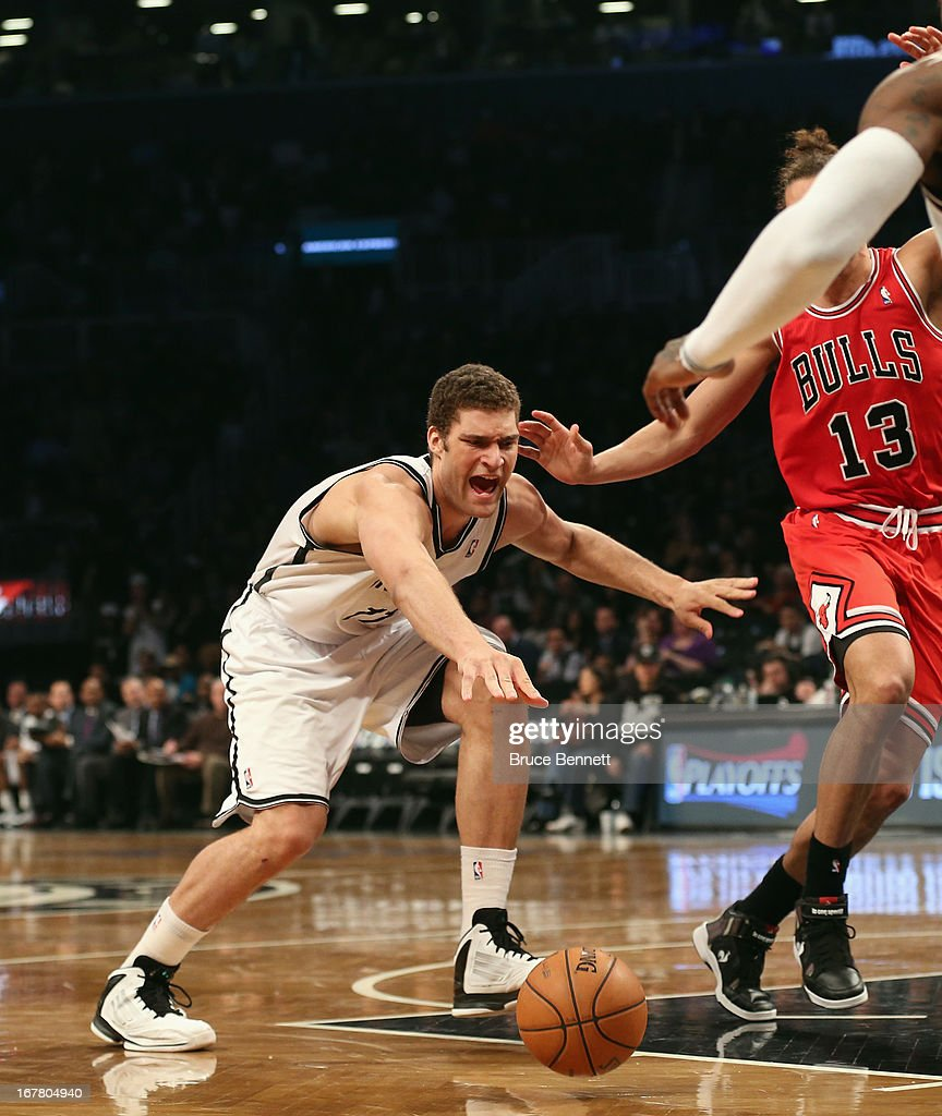 Brook Lopez #11 of the Brooklyn Nets dribbles the ball against the Chicago Bulls during Game Five of the Eastern Conference Quarterfinals of the 2013 NBA Playoffs at the Barclays Center on April 29, 2013 in New York City.