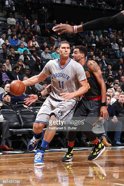 Brook Lopez of the Brooklyn Nets drives to the basket against the Atlanta Hawks on January 10 2017 at Barclays Center in Brooklyn New York NOTE TO...