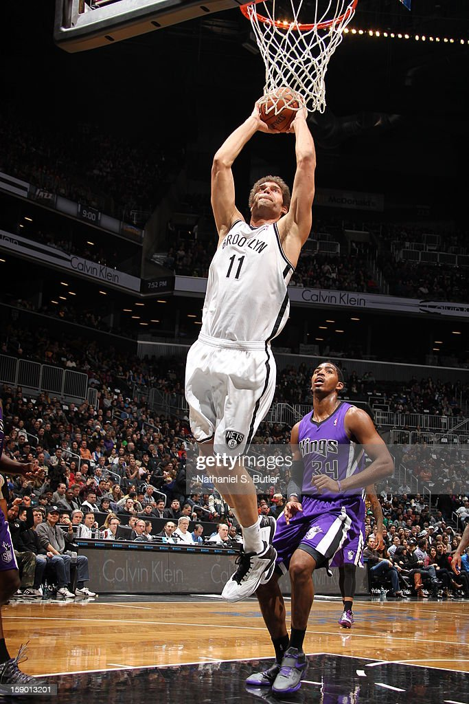 Brook Lopez #11 of the Brooklyn Nets dunks against Jason Thompson #34 of the Sacramento Kings on January 5, 2013 at the Barclays Center in the Brooklyn borough of New York City.