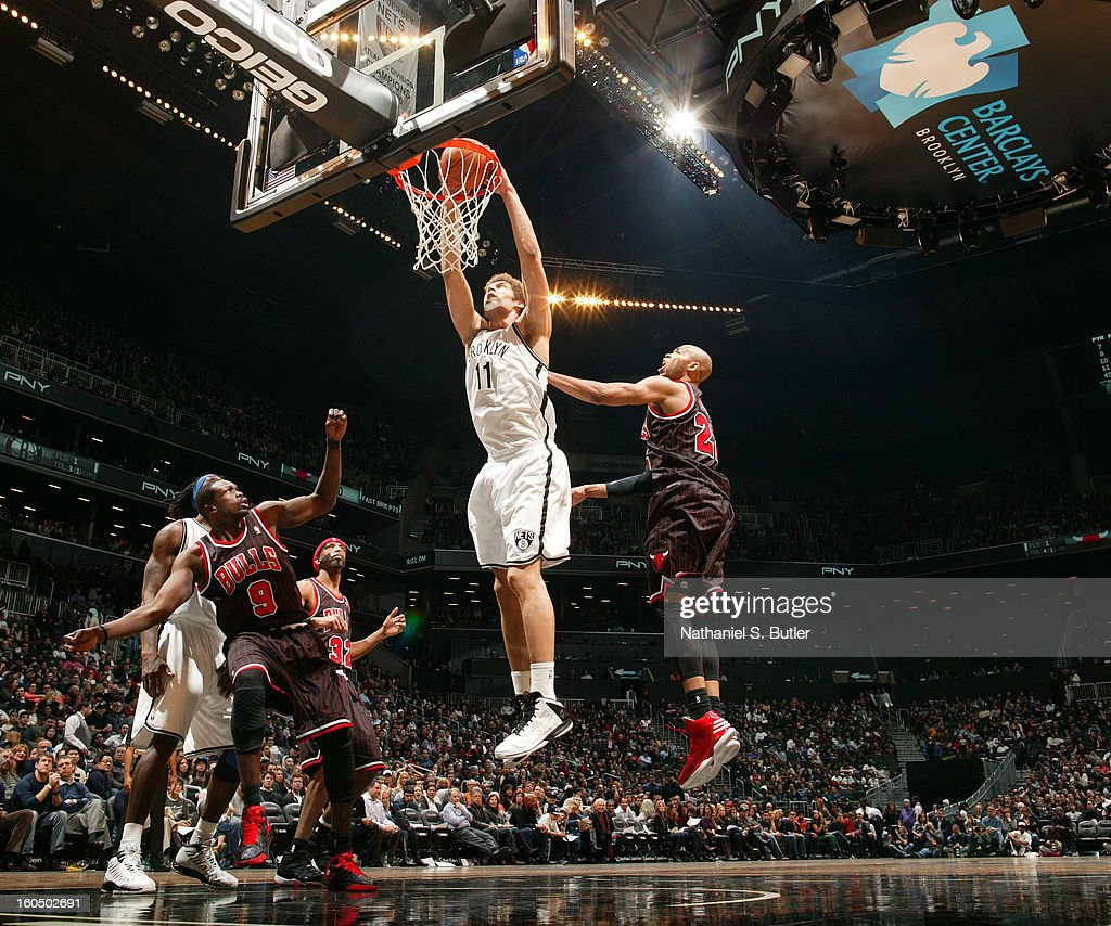 <a gi-track='captionPersonalityLinkClicked' href=/galleries/search?phrase=Brook+Lopez&family=editorial&specificpeople=3847328 ng-click='$event.stopPropagation()'>Brook Lopez</a> #11 of the Brooklyn Nets dunks the ball against the Chicago Bulls on February 1, 2013 at the Barclays Center in the Brooklyn borough of New York City.