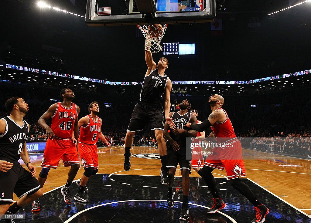 Brook Lopez #11 of the Brooklyn Nets dunks the ball against the Chicago Bulls during Game One of the Eastern Conference Quarterfinals of the 2013 NBA Playoffs at Barclays Center on April 20, 2013 in New York City.