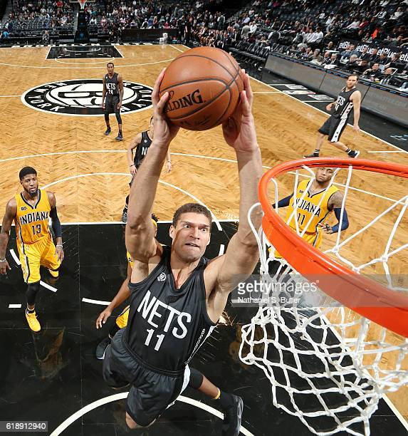 Brook Lopez of the Brooklyn Nets dunks the ball during a game against the Indiana Pacers on October 28 2016 at Barclays Center in Brooklyn New York...