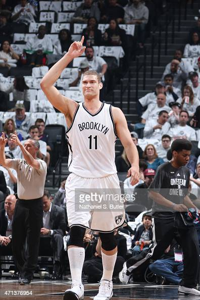 Brook Lopez of the Brooklyn Nets during Game Four of the Eastern Conference Quarterfinals against the Atlanta Hawks during the NBA Playoffs on April...
