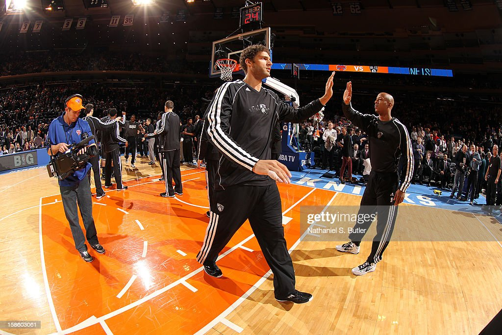Brook Lopez #11 of the Brooklyn Nets gets introduced before the game against the New York Knicks on December 19, 2012 at Madison Square Garden in New York City.