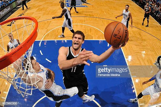 Brook Lopez of the Brooklyn Nets goes for the layup against the Orlando Magic during the game on December 30 2015 at Amway Center in Orlando Florida...