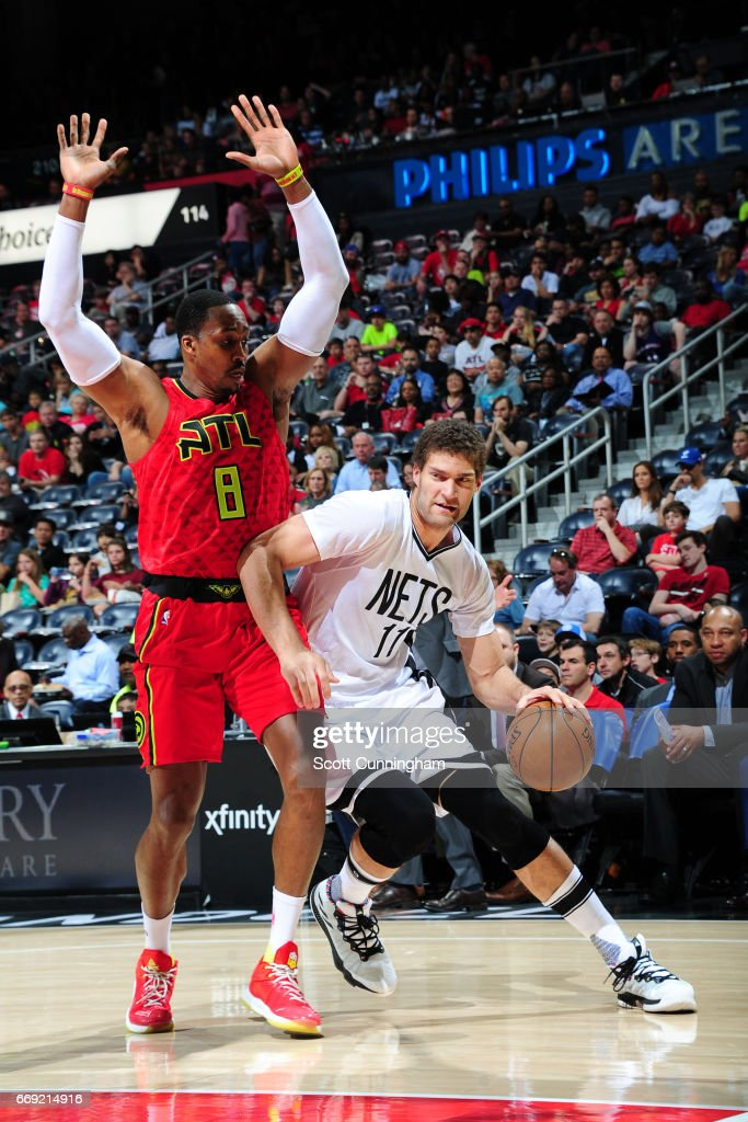 Brook Lopez #11 of the Brooklyn Nets handles the ball against the Atlanta Hawks on March 26, 2017 at Philips Arena in Atlanta, Georgia.