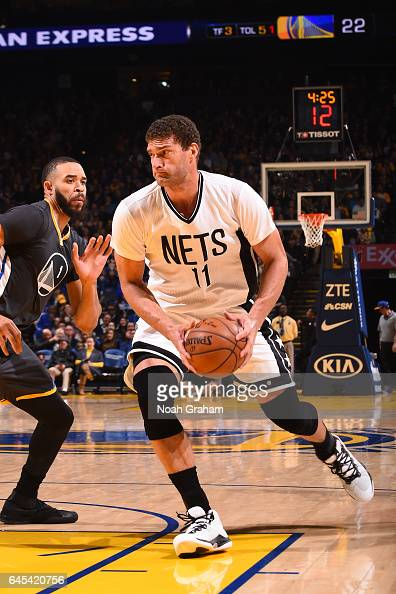 Brook Lopez of the Brooklyn Nets handles the ball against the Golden State Warriors on February 25 2017 at ORACLE Arena in Oakland California NOTE TO...
