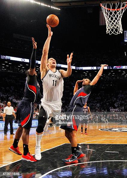 Brook Lopez of the Brooklyn Nets in action against the Atlanta Hawks during game four in the first round of the 2015 NBA Playoffs at Barclays Center...