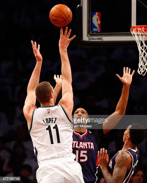 Brook Lopez of the Brooklyn Nets in action against the Atlanta Hawks during game six in the first round of the 2015 NBA Playoffs at Barclays Center...