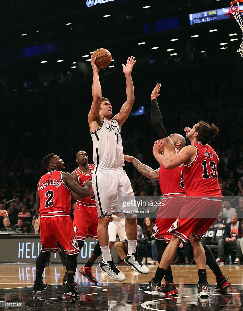 Brook Lopez #11 of the Brooklyn Nets led all scores with 28 against the Chicago Bulls during Game Five of the Eastern Conference Quarterfinals of the 2013 NBA Playoffs at the Barclays Center on April 29, 2013 in New York City. The Nets defeated the Bulls 110-91.
