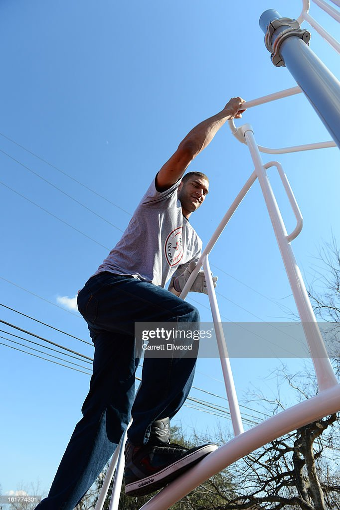 Brook Lopez #11 of the Brooklyn Nets participates at the 2013 NBA Cares Day of Service at the Playground Build with KaBOOM! on February 15, 2013 in Houston, Texas.