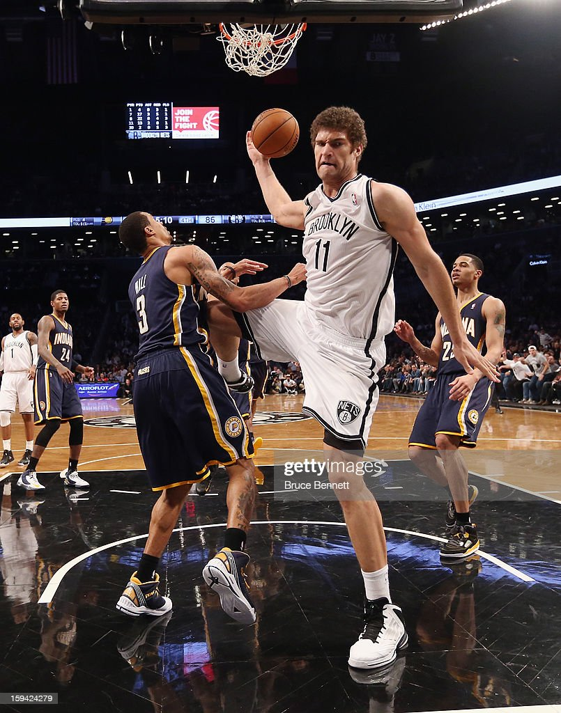 Brook Lopez #11 of the Brooklyn Nets puts down two in the second half against the Indiana Pacers at the Barclays Center on January 13, 2013 in New York City.