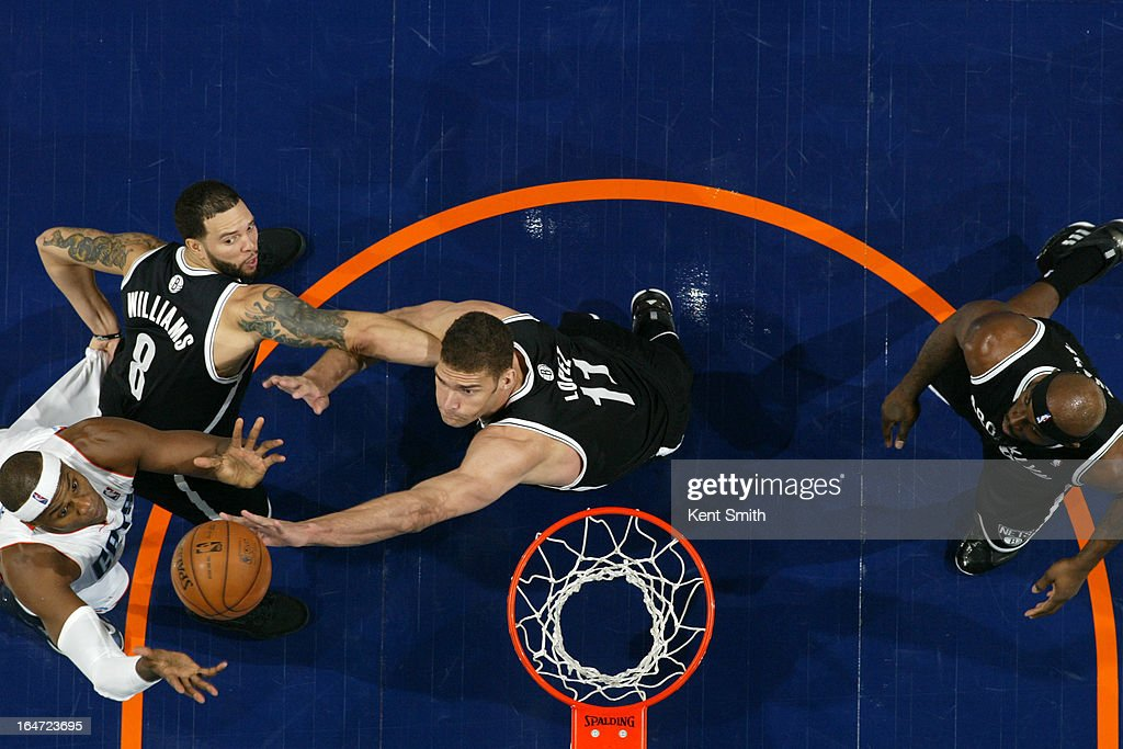 <a gi-track='captionPersonalityLinkClicked' href=/galleries/search?phrase=Brook+Lopez&family=editorial&specificpeople=3847328 ng-click='$event.stopPropagation()'>Brook Lopez</a> #11 of the Brooklyn Nets rebounds against <a gi-track='captionPersonalityLinkClicked' href=/galleries/search?phrase=Brendan+Haywood&family=editorial&specificpeople=202010 ng-click='$event.stopPropagation()'>Brendan Haywood</a> #33 of the Charlotte Bobcats at the Time Warner Cable Arena on March 6, 2013 in Charlotte, North Carolina.