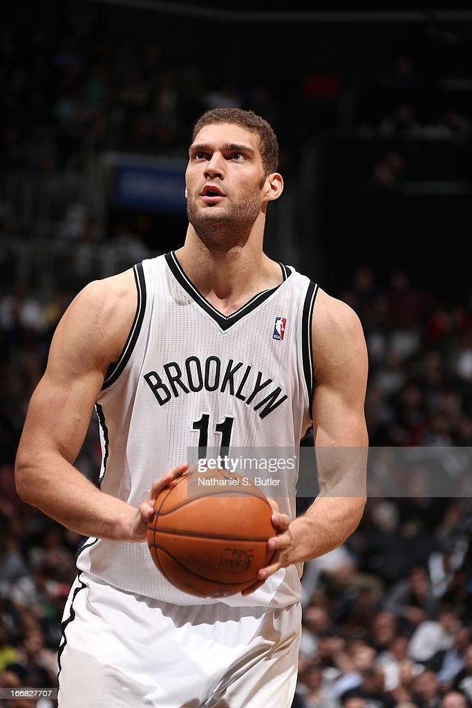 <a gi-track='captionPersonalityLinkClicked' href=/galleries/search?phrase=Brook+Lopez&family=editorial&specificpeople=3847328 ng-click='$event.stopPropagation()'>Brook Lopez</a> #11 of the Brooklyn Nets shoots a free throw during the game against the New Orleans Hornets on March 12, 2013 at the Barclays Center in the Brooklyn borough of New York City.