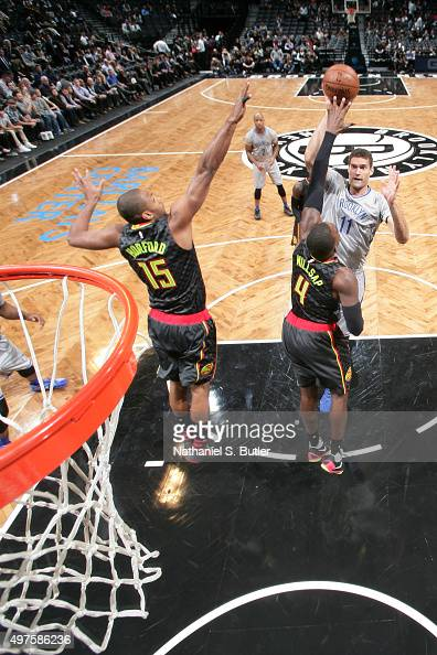 Brook Lopez of the Brooklyn Nets shoots against the Atlanta Hawks during the game on NOVEMBER 17 2015 at Barclays Center in Brooklyn New York NOTE TO...
