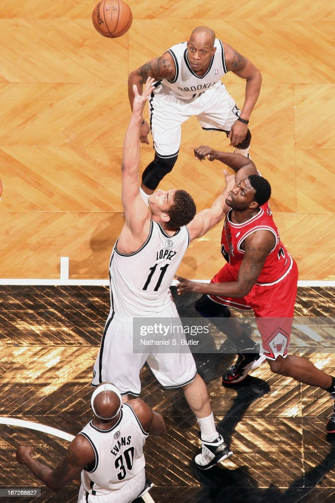 <a gi-track='captionPersonalityLinkClicked' href=/galleries/search?phrase=Brook+Lopez&family=editorial&specificpeople=3847328 ng-click='$event.stopPropagation()'>Brook Lopez</a> #11 of the Brooklyn Nets shoots against the Chicago Bulls in Game Two of the Eastern Conference Quarterfinals during the 2013 NBA Playoffs on April 22 at the Barclays Center in the Brooklyn borough of New York City.