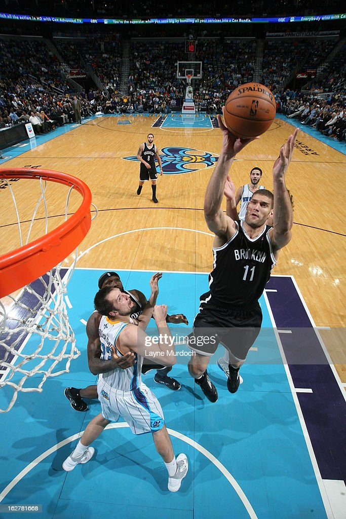 <a gi-track='captionPersonalityLinkClicked' href=/galleries/search?phrase=Brook+Lopez&family=editorial&specificpeople=3847328 ng-click='$event.stopPropagation()'>Brook Lopez</a> #11 of the Brooklyn Nets shoots against the New Orleans Hornets on February 26, 2013 at the New Orleans Arena in New Orleans, Louisiana.