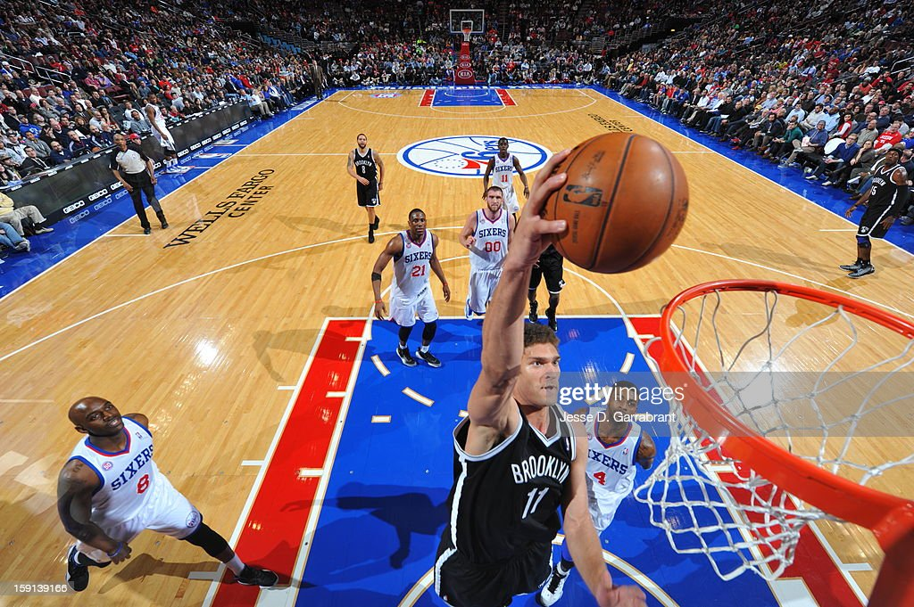 Brook Lopez #11 of the Brooklyn Nets shoots against the Philadelphia 76ers during the game at the Wells Fargo Center on January 8, 2013 in Philadelphia, Pennsylvania.