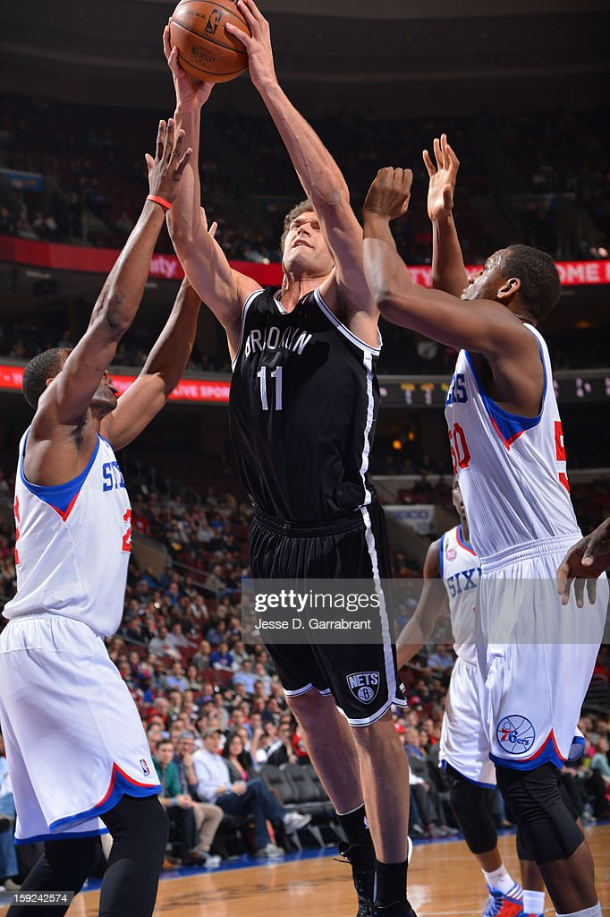 Brook Lopez #11 of the Brooklyn Nets shoots the ball against the Philadelphia 76ers during the game at the Wells Fargo Center on January 8, 2013 in Philadelphia, Pennsylvania.