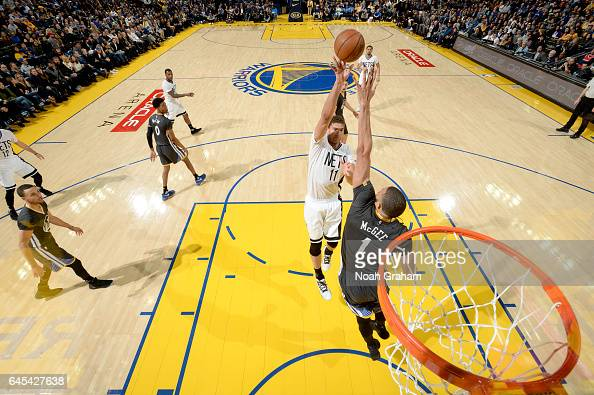 Brook Lopez of the Brooklyn Nets shoots the ball against the Brooklyn Nets on February 25 2017 at ORACLE Arena in Oakland California NOTE TO USER...