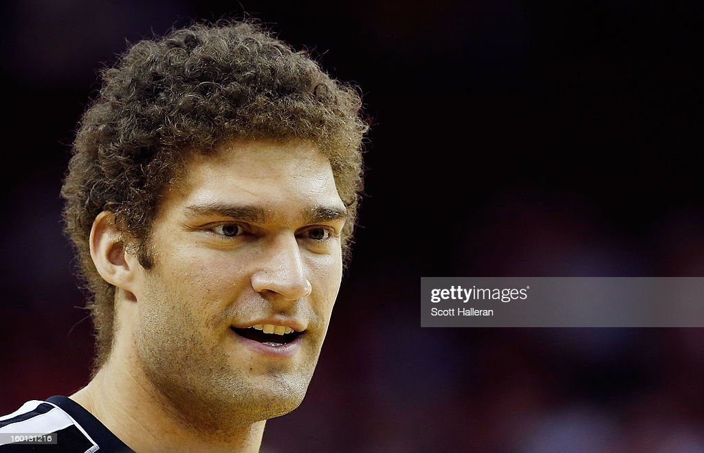 Brook Lopez #11 of the Brooklyn Nets waits on the court prior to the start of the game against the Houston Rockets at Toyota Center on January 26, 2013 in Houston, Texas.