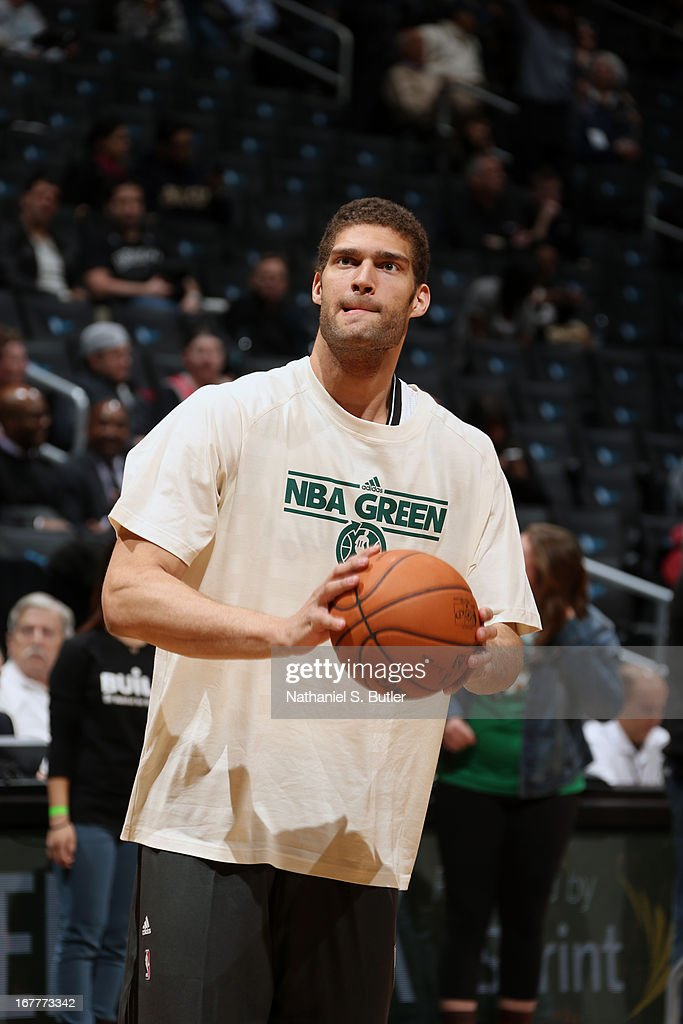 Brook Lopez #11 of the Brooklyn Nets warms up before the game against the Chicago Bulls on April 4, 2013 at the Barclays Center in the Brooklyn borough of New York City.