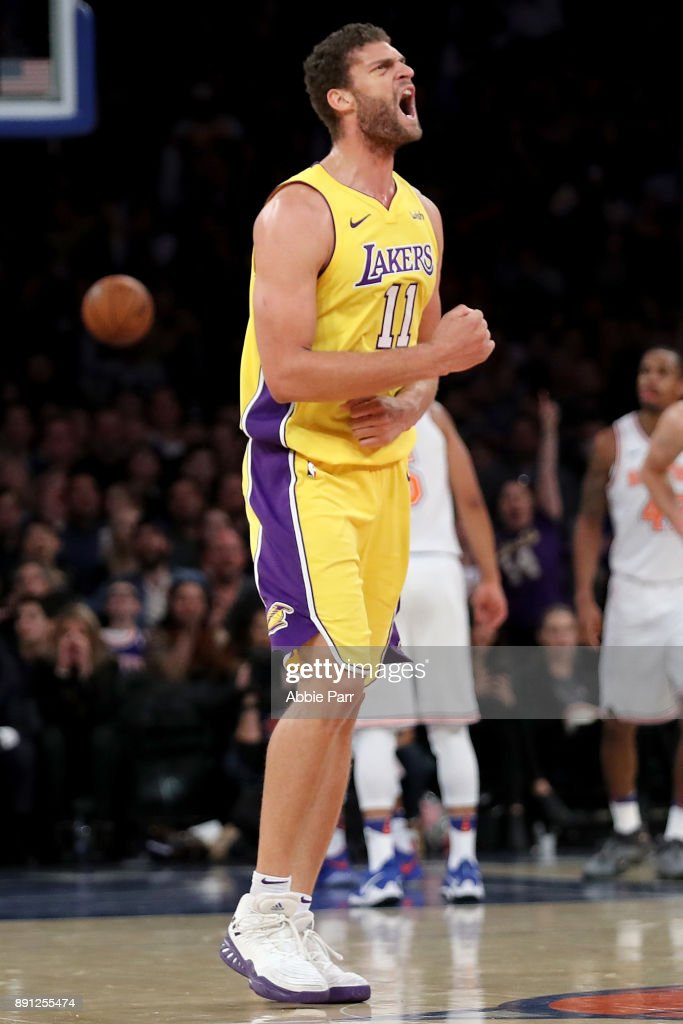 Brook Lopez #11 of the Los Angeles Lakers reacts in the third quarter against the New York Knicks during their game at Madison Square Garden on December 12, 2017 in New York City.