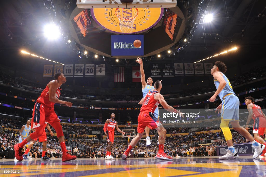 Brook Lopez #11 of the Los Angeles Lakers shoots the ball against the Washington Wizards on October 25, 2017 at STAPLES Center in Los Angeles, California.