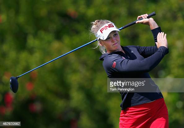 Brook M Henderson of Canada hits a tee shot on the eighth hole during round two of the Pure Silk Bahamas LPGA Classic at the Ocean Club course on...