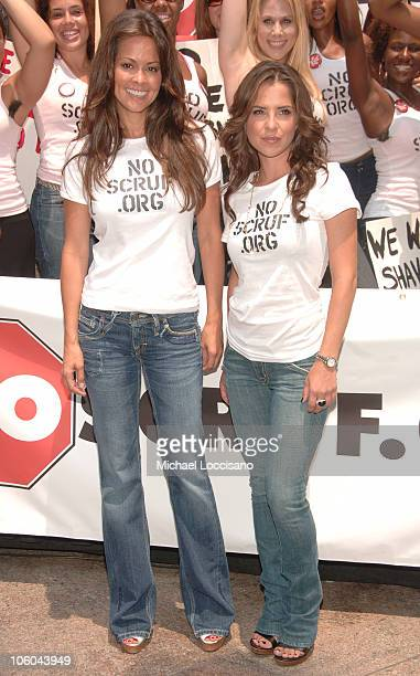 Brooke Burke and Kelly Monaco during Kelly Monaco and Brooke Burke Rally for NoScruforg at Greeley Square in New York City New York United States