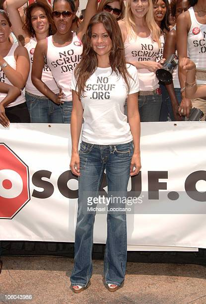 Brooke Burke during Kelly Monaco and Brooke Burke Rally for NoScruforg at Greeley Square in New York City New York United States
