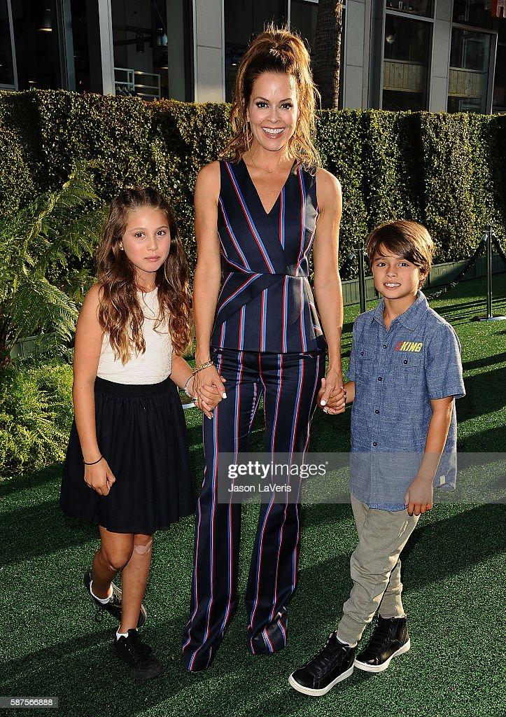 Brooke BurkeCharvet and children Heaven Rain Charvet and Shaya Braven Charvet attend the premiere of 'Pete's Dragon' at the El Capitan Theatre on...