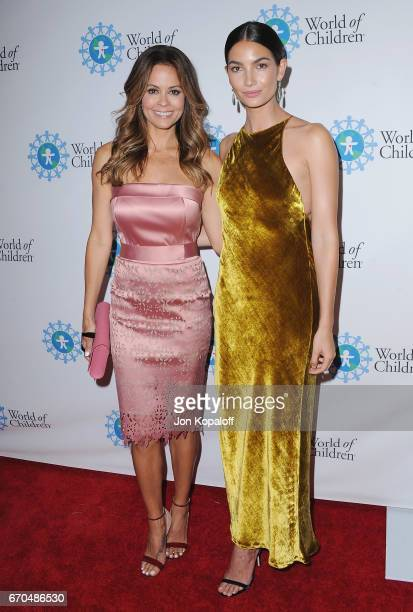 Brooke BurkeCharvet and Lily Aldridge arrive at the 2017 World Of Children Hero Awards at Montage Beverly Hills on April 19 2017 in Beverly Hills...