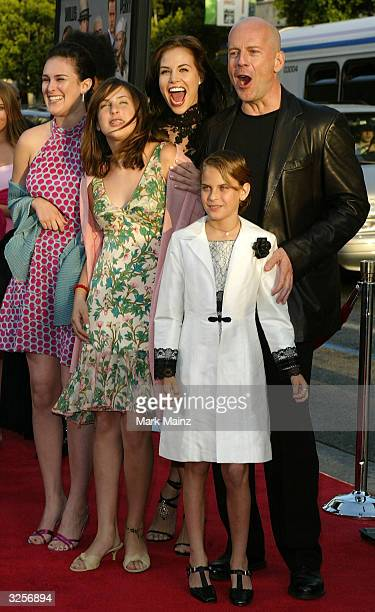 Brooke Burns Actor Bruce Willis stands with his girlfriend Brooke Burns and his children Scout Willis Tallulah Belle Willis and Rumour Willis as they...