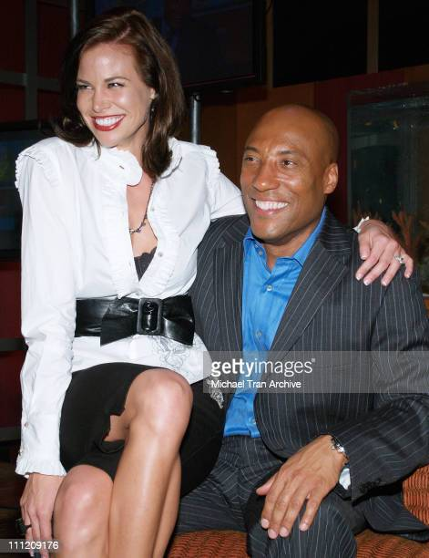 Brooke Burns and Byron Allen during 'Comics Unleashed' Television Premiere Party at Sunset Gower Studios Stage 9 in Hollywood California United States