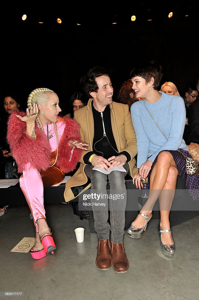 Brooke Candy, <a gi-track='captionPersonalityLinkClicked' href=/galleries/search?phrase=Nick+Grimshaw&family=editorial&specificpeople=4666727 ng-click='$event.stopPropagation()'>Nick Grimshaw</a> and <a gi-track='captionPersonalityLinkClicked' href=/galleries/search?phrase=Pixie+Geldof&family=editorial&specificpeople=208703 ng-click='$event.stopPropagation()'>Pixie Geldof</a> attend the Fashion East show during London Fashion Week Fall/Winter 2013/14 at TopShop Show Space on February 18, 2013 in London, England.