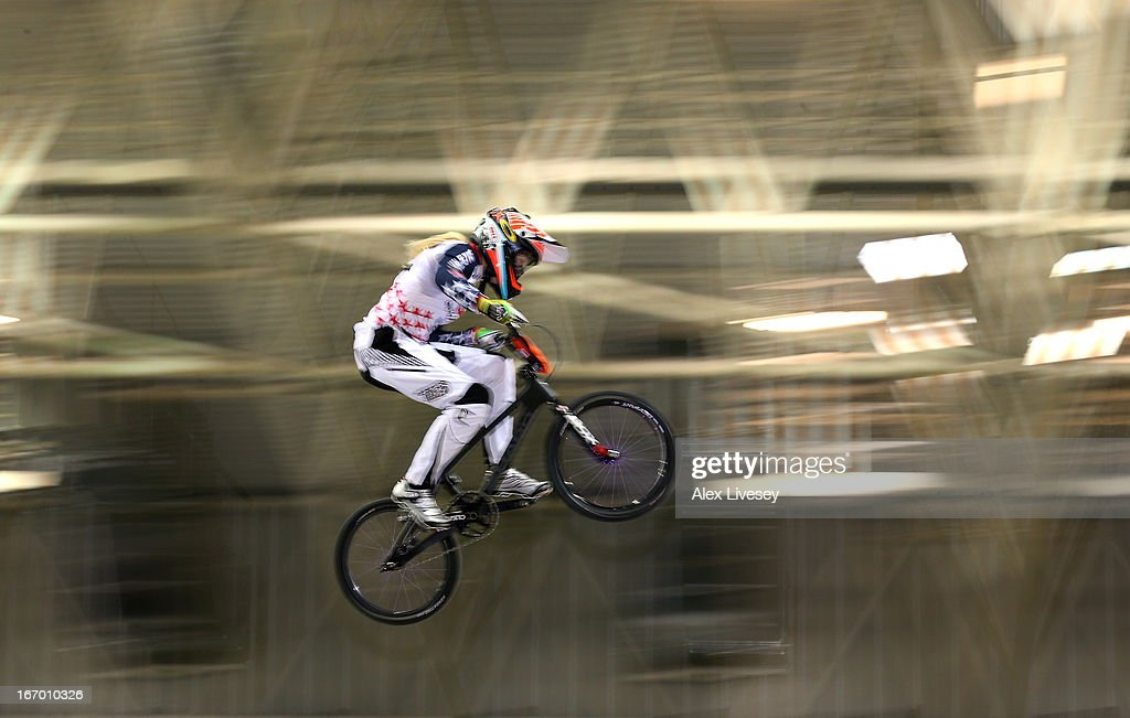Brooke Crain of USA takes the first jump during the Women's Elite Time trials Superfinal in the UCI BMX Supercross World Cup at National Cycling Centre on April 19, 2013 in Manchester, England.