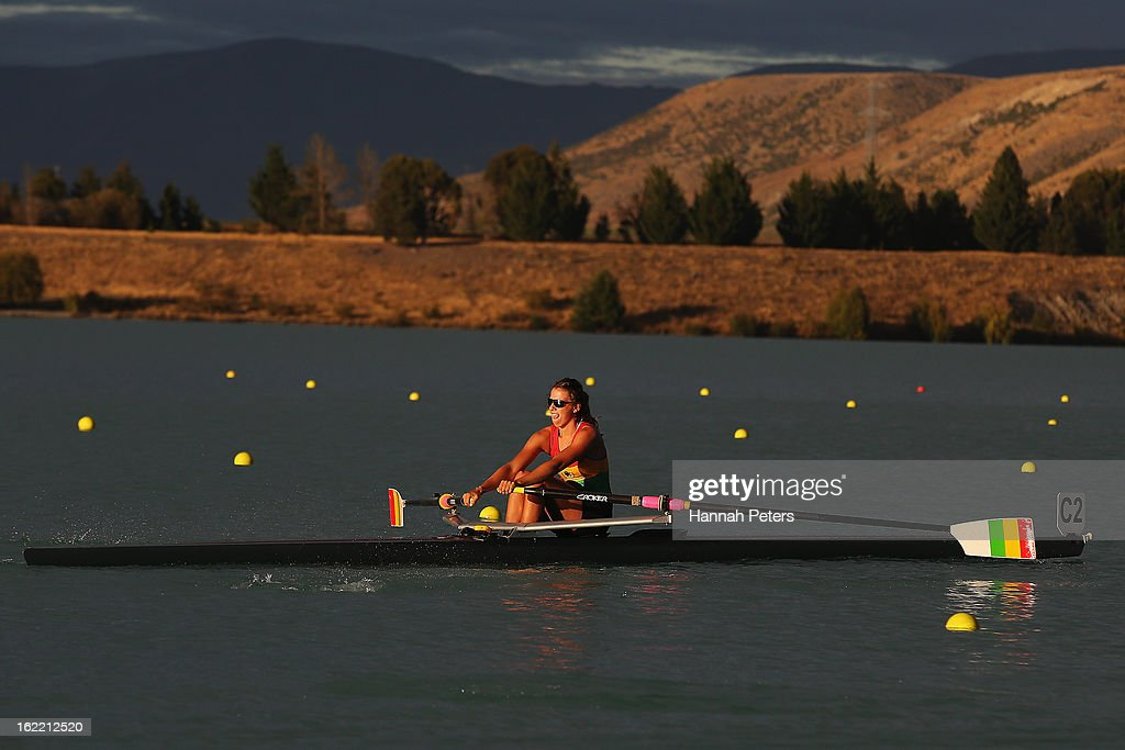 Brooke Donoghue of Waikato competes in the Women's U20 1X semifainl during day three of the New Zealand Rowing Championships at Lake Ruataniwha on February 21, 2013 in Wellington, New Zealand.