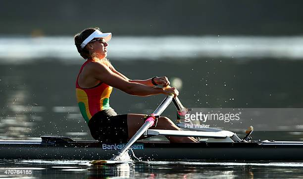 Brooke Donoghue of Waikato RPC 1 competes in the final of the womens under20 single sculls during the Bankstream New Zealand Rowing Championships at...