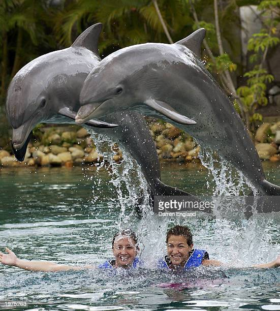 Brooke Hanson and Elka Graham of the Telstra Dolphins Australian Swimming team swim with the dolphins on May 3 2003 at Sea World on the Gold Coast...