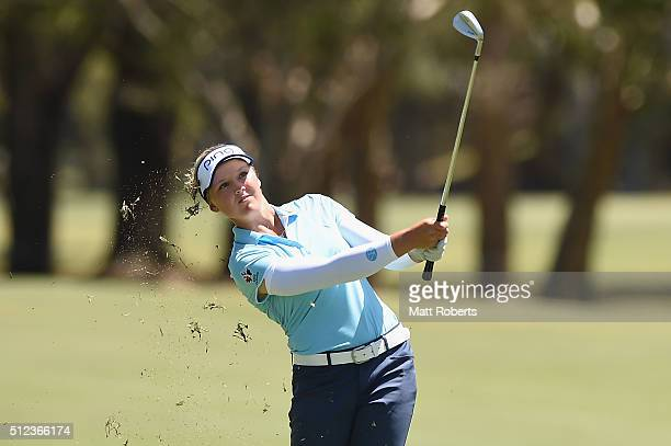 Brooke Henderson of Canada hits her approach shot during day two of the RACV Ladies Masters at Royal Pines Resort on February 26 2016 on the Gold...