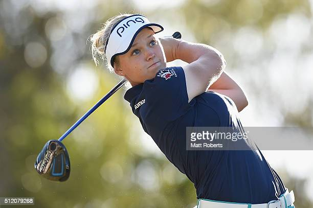 Brooke Henderson of Canada hits her tee shot during day one of the RACV Ladies Masters at Royal Pines Resort on February 25 2016 on the Gold Coast...