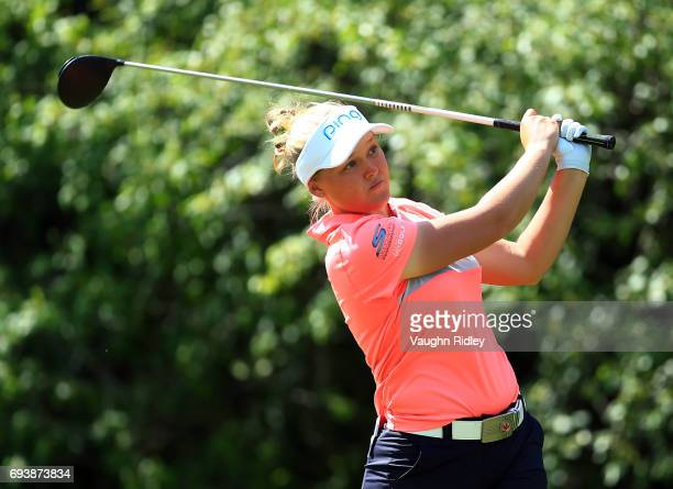 Brooke Henderson of Canada hits her tee shot on the 18th hole during the first round of the Manulife LPGA Classic at Whistle Bear Golf Club on June...