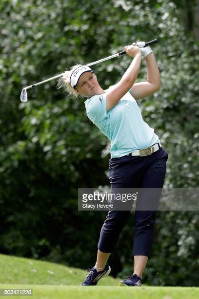 Brooke Henderson of Canada hits her tee shot on the seventh hole during the first round of the 2017 KPMG PGA Championship at Olympia Fields Country...