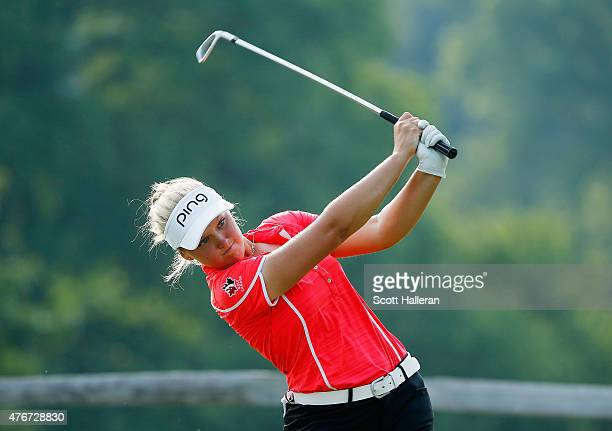 Brooke Henderson of Canada hits her tee shot on the sixth hole during the first round of the KPMG Women's PGA Championship on the West Course at the...